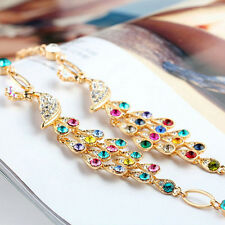 Colorful New Hot Rhinestone Crystal Clear Peacock Bracelet Cuff Women Bangle