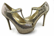 Steve Madden Revaa Betty Gold Mesh Embossed Peep Toe Platform T-Strap Pumps 6.5