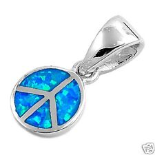 Blue Opal Peace Sign Pendant Sterling Silver 925 Hippie Best Price Jewelry