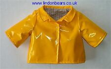 YELLOW PVC RAINCOAT–LINED–FITS TEDDY BEARS 16 inch / 40cm TALL – MADE IN ENGLAND