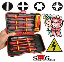 13 Pc VDE Insulated Screwdriver Set Single Pole Voltage Security Tool Tester 794