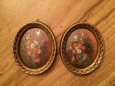 2 Antique Oval Pictures Frame SMR Italy Flowers Floral 4 1/4 X 3 1/2