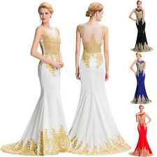 Lang Gold Applikation Abendkleid Ballkleid Brautkleid Hochzeit Kleid Gr: 44