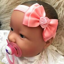 Baby Girl's pink Headband with pink double Satin Bow Christening