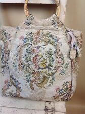 A Vintage Ladies Carpet Tapestry Style Bag Cane Handles VGC Large