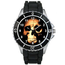 Evil Skull Halloween Mens Ladies Black Jelly Silicone Strap Wrist Watch S1312E