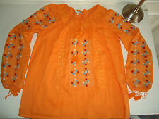What Goes Around Comes Around Womens Boho Orange Peasant Top Shirt Tunic EUC S