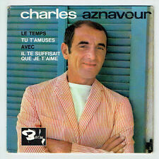 """Charles AZNAVOUR Vinyl 45 tours EP 7"""" LE TEMPS - TU T'AMUSE -BARCLAY 70704  RARE"""