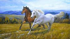 Oil painting HD Print on Canvas Art Deco.Double Horses 16x12inch