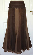 PER UNA Long Brown Patchwork Dressy Fit & Flare Gypsy Boho Maxi Skirt Size 14