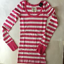 NWT ABERCROMBIE KIDS GIRLS XL PINK STRIPED TEE T TOP LONG SLEEVED MOOSE EMBROIDE