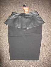 BNWT Lipsy Skirt UK 6 Black Pencil Peplum Faux Leather Panel Work Dress Up Party