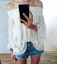 ZARA ECRU OFF SHOULDER FLOWING BLOUSE TOP SIZE S UK 8 10