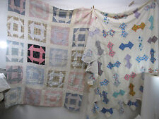 2 Vintage Quilt Top Sections for Projects- Bow Tie & Geometric