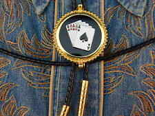 NEW 3D ACE OF SPADES ROYAL FLUSH BOLO TIE,GOLD METAL,GAMBLING,WESTERN,COWBOYS