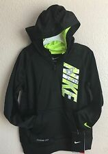 NWT Boys Youth Nike 1/2 Zip Hoodie Sweatshirt Black Volt Size 5 86A273-KE4 $44