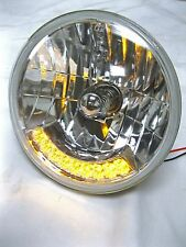 "Street Hot Rod 7"" H4 Headlights w/ 9 Amber LED Turn Signals 12v Heavy Duty PAIR"