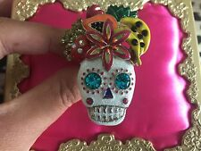 Betsey Johnson Rio Sugar Skull Tropical Fruit Dia De Los Muertos Stretch Ring