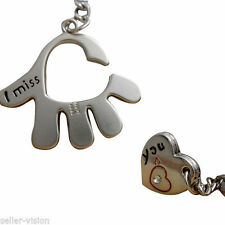 "Sweet Love Palm ""I Miss You"" Couple Key Chain Ring Keyfob Gifts Couples Partner"