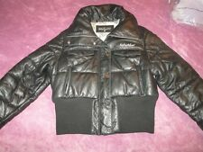 Kimora BABY PHAT Blk LEATHER Embroidered KITTY CAT Cropped PUFFER Jacket Coat XL