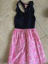 Lilly Pulitzer Girls Dress XL 10 12 14 Pink Navy Racer Back