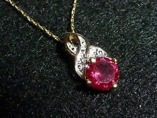 10K SOLID YELLOW GOLD ROUND RUBY PENDANT & 10K SOLID YELLOW GOLD CHAIN NECKLACE