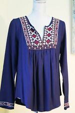 $69 NEW LUCKY BRAND WOM L EMBRO GYPSY ETHNIC PEASANT TOP BLOUSE NAVY LONG SL