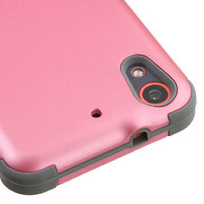 For htc Desire 626 626S 530 PINK GRAY TUFF SKIN RUBBERIZED SOFT/HARD COVER CASE