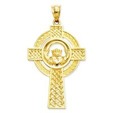 14k Yellow Gold Celtic Claddagh Cross Pendant. (1.5INx0.8IN)