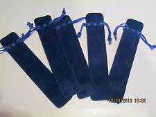 """5 LUXURY VELOUR DUAL SIDED ROYAL BLUE PEN DRAW STRING POUCHES 1 1/2""""X 6 3/4"""""""
