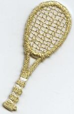 Iron On Applique Embroidered Patch Small Metallic Gold Tennis Racket Racquet