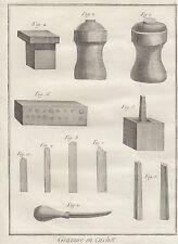 Diderot e D'Alembert, 1778, utensili per incisione, acquaforte, arti e mestieri