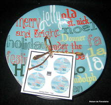 """4 222 FIFTH CHRISTMAS """"HOLIDAY CHEER"""" TEAL APPETIZER/DESSERT PLATES"""