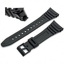 Watch Band Strap to fit Casio Model W96 W96H W-96H, Flexible Black Resin 577EA1