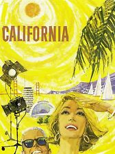 PRINT POSTER TRAVEL AIRLINE CALIFORNIA SUN HOLLYWOOD GOLDEN GATE USA NOFL1297