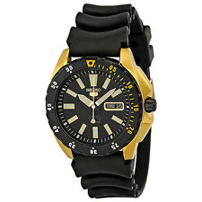 Seiko 5 Sport Automatic Black Dial Black Rubber Mens Watch SRP364