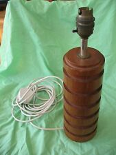 Old vintage retro Eames era stylish Danish hooped Teak and Brass table lamp