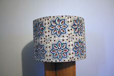 Ajrakh Indian Cotton Block Print Handmade Lampshade - Blue & Red - 30 CM