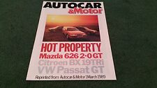 1989 MAZDA 626 GT vs CITROEN BX 19 TRi + VW PASSAT GT ESTATE ROAD TEST BROCHURE