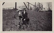 Vintage Antique Photograph Two Women Wearing Beautiful Outfits Sitting on Hill