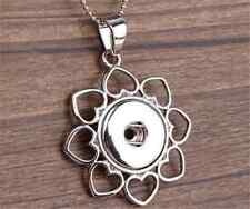 DIY 1pcs Flower Alloy Pendant With Charm Necklace Fit Snap Chunk Button NEW  ##2