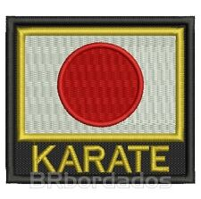 ATM062 FLAG Japan KARATE 9x8 cm Iron Patch Embroidered Martial Arts BOPE