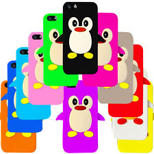 12 Colours Cute Penguin 3D Silicone Case Cover for iPhone 5 + Screen Guard