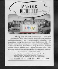 MANOIR RICHELIEU MURRAY BAY QUEBEC CANADA 1942 REAP RICH REWARDS AD