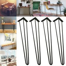 "3 Rods Black 30"" Hairpin Legs,Set of 4, 3/8"" Dia. Solid Iron - DIY Table Legs"
