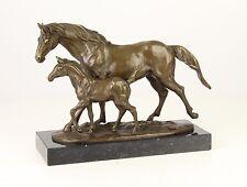 73256-ds Bronze-Skulptur Pferd Stute mit Fohlen neu