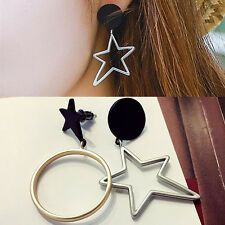 1 Pair Asymmetric Star Circle Ear Studs Elegant Earrings Fashion Jewelry Gift