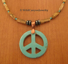 *Handmade* Turquoise Magnesite Peace Pendant Necklace with desert jasper beads