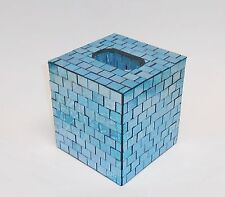 NEW BLUE GLASS MOSAIC SQUARE TISSUE BOX,NAPKIN HOLDER