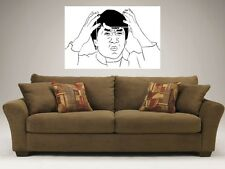 "JACKIE CHAN MEME RAGE FACE MOSAIC 35"" BY 25"" WALL POSTER TROLL"